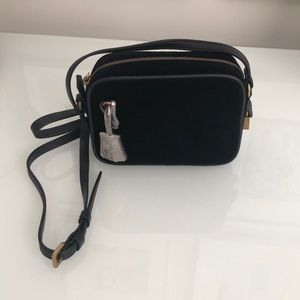 Brand New J. Crew Black Velvet Mini Messenger Bag